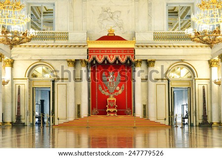 ST PETERSBURG,RUSSIA - JAN 25,2015:St George's Hall (referred to as Great Throne Room) is one of largest state rooms in Winter Palace.Hall was scene of many of most formal ceremonies of Imperial court - stock photo