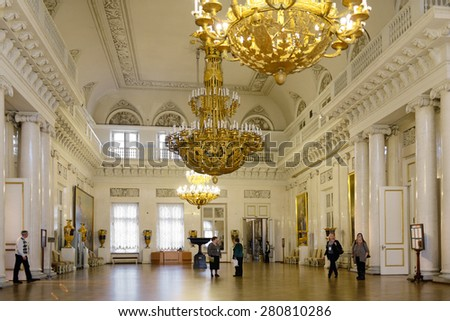 ST PETERSBURG, RUSSIA - JANUARY 24,2015:Hermitage Emblem or Armorial Hall which occupies area of 600 square meters was designed by Stasov. Hall was used for official receptions