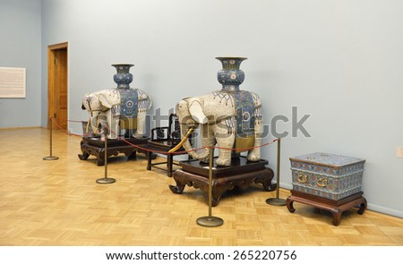 ST PETERSBURG, RUSSIA - JANUARY 25, 2015:State Hermitage is museum of art and culture. Art of ancient and medieval India is represented by Buddhist, Jain and Hindu sculpture in stone, bronze and wood  - stock photo