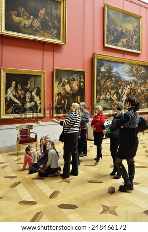 ST PETERSBURG, RUSSIA - JANUARY 25, 2015:State Hermitage is museum of art and culture. One of oldest museums in world, it was founded in 1764 by Catherine Great - stock photo