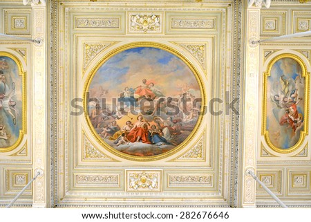 ST PETERSBURG, RUSSIA - JANUARY 25, 2015:State Hermitage is museum of art and culture. One of oldest museums in world, it was founded in 1764 by Catherine Great. Ceiling - stock photo