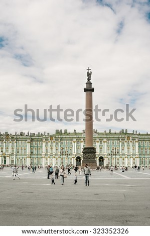 ST. PETERSBURG, RUSSIA - JULY 26, 2015: Alexander Column on Palace Square in St. Petersburg, Russia