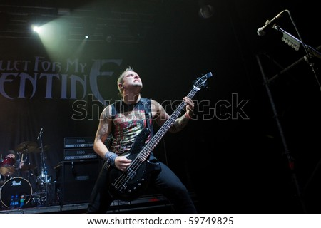 """ST. PETERSBURG, RUSSIA - JULY 14: GROUP """"BULLET FOR MY VALENTINE"""", St.-Petersburg On July 14, 2010 in St Petersburg, Russia - stock photo"""