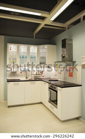 ST-PETERSBURG, RUSSIA - JULY 13, 2015 - Kitchen interior in the IKEA store in St. Petersburg - stock photo