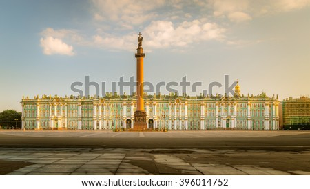 St. Petersburg, Russia July 18, 2014: Morning view of the Palace Square, Alexander Column, Winter Palace in St. Petersburg