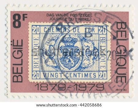 ST. PETERSBURG, RUSSIA - JUNE 23, 2016: A postmark printed in BELGIUM, shows postmark 1879, old postage stamp on a new, circa 1979 - stock photo