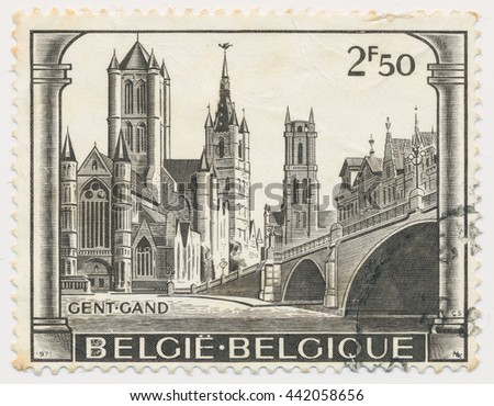 ST. PETERSBURG, RUSSIA - JUNE 23, 2016: A postmark printed in BELGIUM, shows View of Ghent, circa 1971 - stock photo