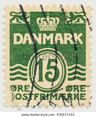 ST. PETERSBURG, RUSSIA - JUNE 1, 2016: A postmark printed in Denmark, shows  Par value 15 in double oval, circa 1963
