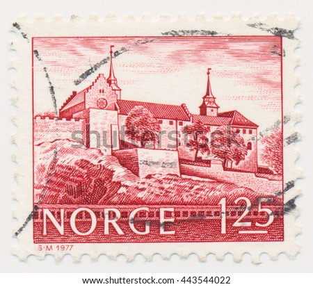 ST. PETERSBURG, RUSSIA - JUNE 26, 2016: A postmark printed in NORWAY, shows Akershus Castle, Oslo, circa 1977