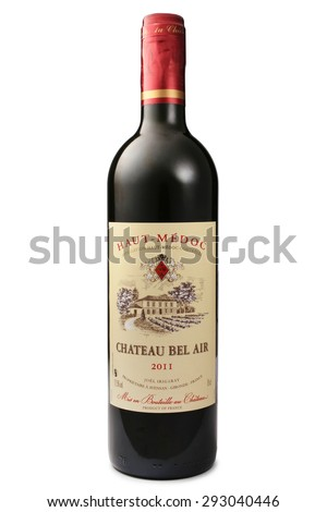 ST. PETERSBURG, RUSSIA - June 13, 2015: Bottle of Chateau Bel Air, Haut-Medoc, France, 2011 - stock photo