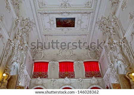 ST.PETERSBURG, RUSSIA - JUNE 24: Interior of Catherine Palace in June 24, 2013 in St.Petersburg, Russia. The former imperial palace. Building is laid in 1717 on orders of Catherine I. Now a museum