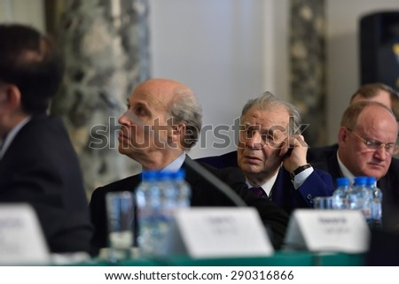 "ST. PETERSBURG, RUSSIA - JUNE 22, 2015: Nobel Prize Laureates Roger Kornberg (left) and Zhores Alferov during Saint Petersburg scientific forum ""Nanostructures: physics and technology"""