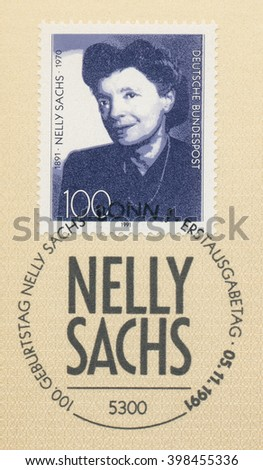 ST. PETERSBURG, RUSSIA - MAR 30, 2016: A first day of issue postmark printed in Bonn, Germany, shows portrait of Nelly Sachs (1891-1970), Writer, circa 1991