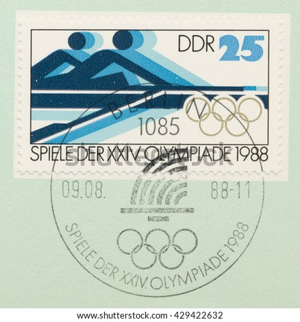 ST. PETERSBURG, RUSSIA - MAY 31, 2016: A postmark printed in DDR, shows Rowing, Summer Olympics Games in Seoul, circa 1988 - stock photo