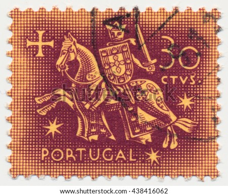 ST. PETERSBURG, RUSSIA - MAY 17, 2016: A postmark printed in PORTUGAL, shows Equestrian Seal of King Diniz (1261-1325), circa 1956 - stock photo
