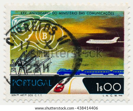 ST. PETERSBURG, RUSSIA - MAY 17, 2016: A postmark printed in PORTUGAL, shows Transportation and Weather Map. Ministry of Communications, 25th anniv, circa 1973