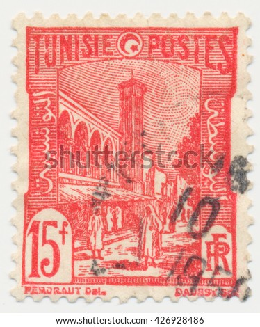 ST. PETERSBURG, RUSSIA - MAY 11, 2016: A postmark printed in Tunisia, shows 