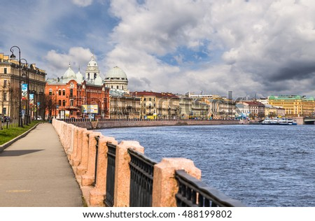 St. Petersburg, Russia - May 11, 2015: Beautiful waterfront with the historic homes in St. Petersburg.
