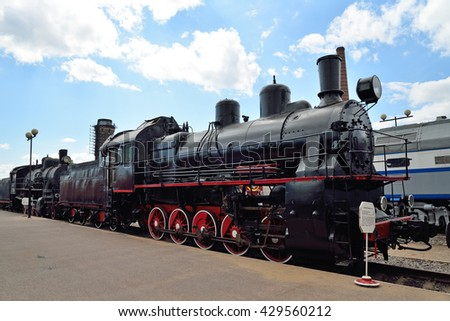 ST.PETERSBURG, RUSSIA - MAY 11, 2016:   Freight locomotive e-4444 in the railway Museum in Saint-Petersburg