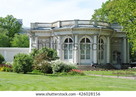 St.Petersburg, Russia - May 14, 2016: pavilion Rossi in the Anichkov garden in early spring