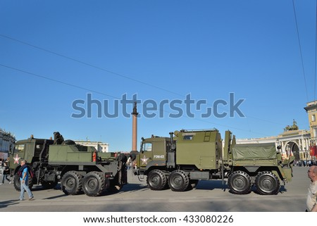 ST.PETERSBURG, RUSSIA - MAY 05, 2016:  Repair and recovery vehicle REM-KL and a military tow truck on the Palace square during a rehearsal of the Victory Parade  in May