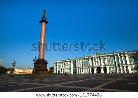 ST.PETERSBURG, RUSSIA - MAY 21: The Alexander Column, is focal point of Palace Square in May 21, 2012 in St.Petersburg, Russia. The column is named for Emperor Alexander I, who reigned from 1801-1825.