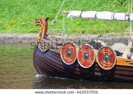 ST. PETERSBURG, RUSSIA - MAY 27, 2017: Viking ship at the festival `Legends of the Norwegian Vikings` on City Day, circa 2017