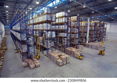 St. Petersburg, Russia - November 21, 2008: Top view of the interior area in a warehouse pallet racking storage of goods. - stock photo