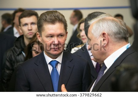 St. Petersburg, Russia - October 07, 2014: Alexey Miller (left), chairman of directorate at Gazprom, Russian state gas supplying monopoly, attends a Gas Forum.