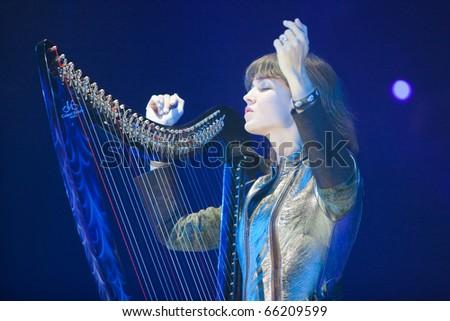 "ST. PETERSBURG, RUSSIA - OCTOBER 20: Group ""ARIA"" in concert on OCTOBER 20, 2010 in St Petersburg, Russia - stock photo"