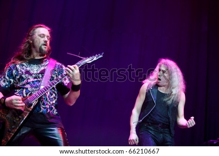 """ST. PETERSBURG, RUSSIA - OCTOBER 20: Group """"MASTER"""" in concert on OCTOBER 20, 2010 in St Petersburg, Russia - stock photo"""