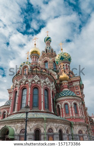 ST.PETERSBURG, RUSSIA - SEPTEMBER 21: Church of the Savior on Blood on September 21, 2013 in Petersburg. Was built on the site where Tsar Alexander II was assassinated and was dedicated in his memory.