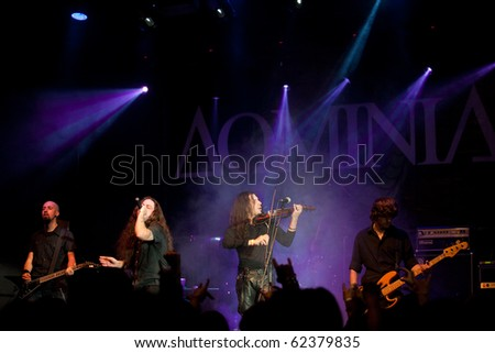 "ST. PETERSBURG, RUSSIA - SEPTEMBER 19: Group ""DOMINIA"" in concert on September 19, 2010 in St Petersburg, Russia"