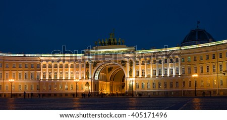 St. Petersburg. The General Staff building photographed at night.  Dual arch is topped with a Roman quadriga.