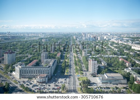 St. Petersburg view of the neighborhoods in the southern part of the city. - stock photo