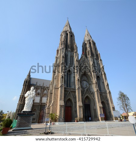St. Philomena's Church is a Catholic church built in honour of St. Philomena in Mysore, India. Constructed in 1936 using a Neo Gothic architecture, it was inspired by the Cologne Cathedral in Germany.