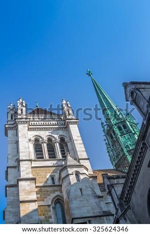 St. Pierre Cathedral of Geneva on blue sky background. Europe, Switzerland - stock photo
