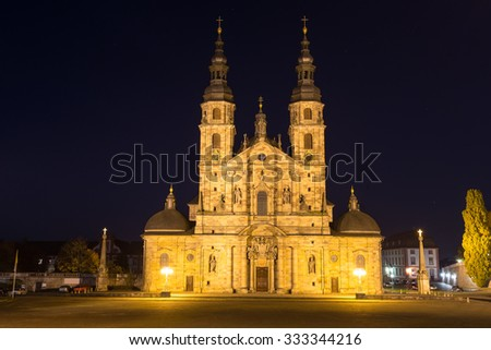 st salvator dom in fulda germany at night