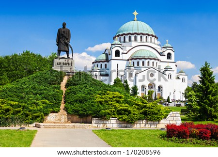 St. Sava Cathedral and Karadjordje (Serbian political leader) statue, Belgrade - stock photo