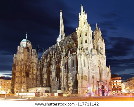 St. Stephan cathedral in Vienna at twilight, Austria - stock photo