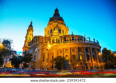 St. Stephen basilica in Budapest, Hungary in the evening - stock photo