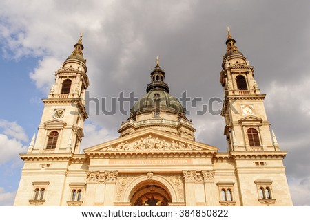 St. Stephen's Basilica, a Roman Catholic basilica in Budapest, Hungary. Today, it is the third largest church building in present-day Hungary.