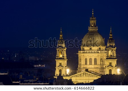 St. Stephen's Basilica At Night, Budapest, Hungary