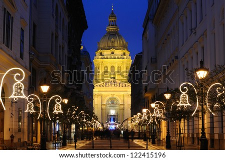 St. Stephen's Basilica in Budapest in Hungary between Christmas and New Year's Eve. - stock photo