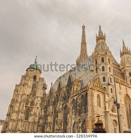 St. Stephen's Cathedral in Vienna - Catholic cathedral, the national symbol of Austria and symbol of the city of Vienna, Austria.  - stock photo