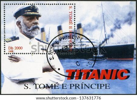 ST. THOMAS AND PRINCE ISLANDS - CIRCA 1998: A stamp printed in St.Thomas and Prince Islands shows Captain Edward John Smith and Titanic, circa 1998 - stock photo