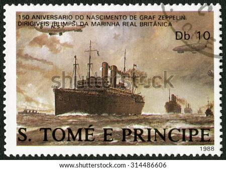 ST. THOMAS AND PRINCE ISLANDS - CIRCA 1988: A stamp printed in St.Thomas shows Dirigibles flying over British merchant ships, series Ferdinand Graf Von Zeppelin (1838-1917), circa 1988