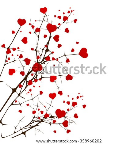 St.Valentine Day Love Tree With Hearts Over White - stock photo