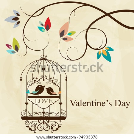 St. Valentine's day greeting card with birds - stock photo