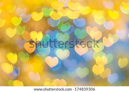 St. Valentine's Day yellow heart bokeh background  - stock photo